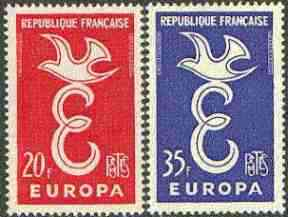 France 1958 Europa set of 2 unmounted mint, SG 1397-98