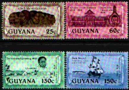 Guyana 1988 Abolition of Slavery (2nd issue changed colours) unmounted mint, SG 2552-55*