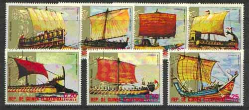 Equatorial Guinea 1974 Early Sailing Ships complete set of 7 cto used*