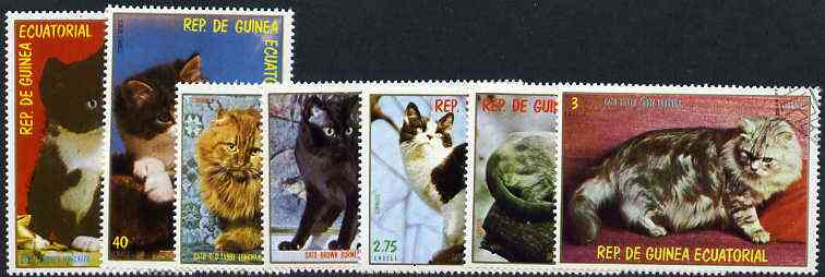 Equatorial Guinea 1978 Domestic Cats complete set of 7 cto used, Mi 1394-1400*
