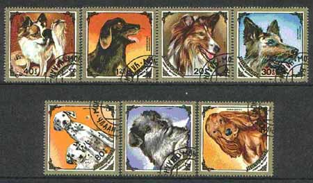 Mongolia 1984 Dogs (square & diamond shaped) set of 7 cto used, SG 1636-42*