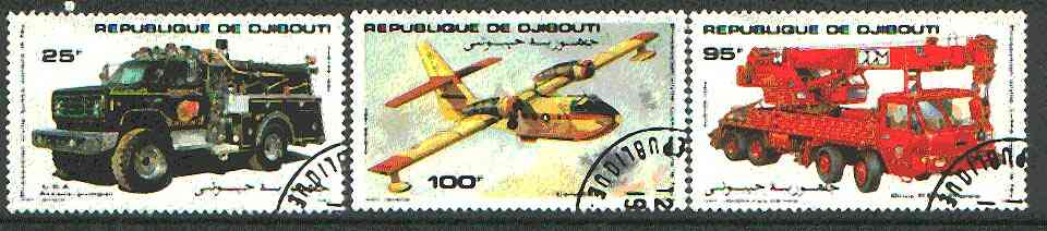 Djibouti 1984 Fire Fighting set of 3 (Fire engine, crane & Aircraft) cto used SG 929-31*