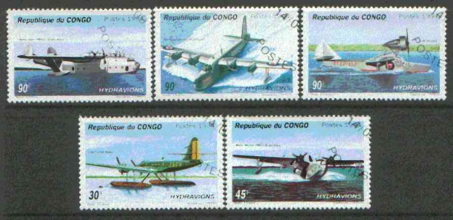Congo 1994 Flying Boats & Sea Planes set of 5 cto used*