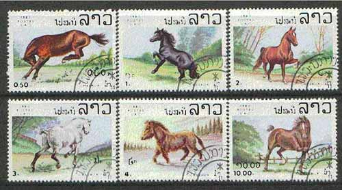 Laos 1983 Horses set of 6 fine cto used, SG 623-28*