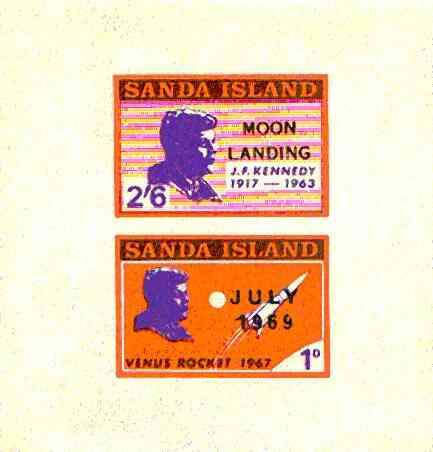 Sanda Island 1969 Kennedy imperf m/sheet opt'd Moon Landing unmounted mint