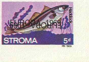 Stroma 1969 Fish 5d (Haddock) imperf single with 'Europa 1969' opt doubled, one inverted (very slight gum disturbance)