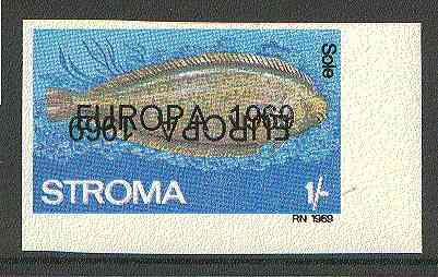 Stroma 1969 Fish 1s (Sole) imperf single with 'Europa 1969' opt doubled, one inverted (very slight gum disturbance)*