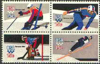 United States 1980 Lake Placid Winter Olympic Games unmounted mint se-tenant block of 4 (Perf 11) SG 1781ba