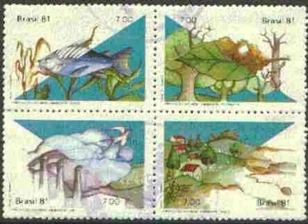 Brazil 1981 Environmental Protection (Birds, fish, Flowers) se-tenant set of 4 commercially used SG 1901-04