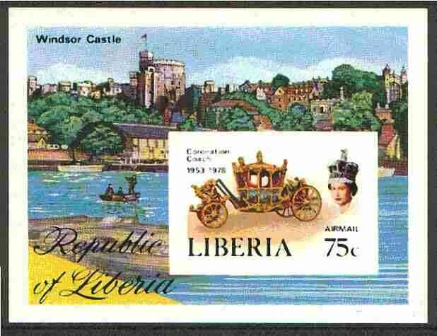 Liberia 1978 Coronation 25th Anniversary imperf m/sheet (Coronation Coach & Windsor Castle) as SG MS 1351 unmounted mint