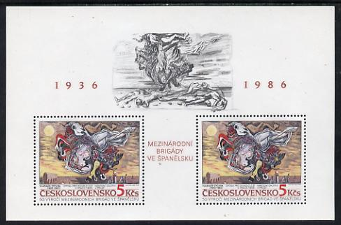 Czechoslovakia 1986 International Brigades (Theatre Curtain) m/sheet unmounted mint, SG MS 2849, Mi BL 68