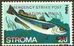 Stroma 1971 Fish 3s on 2s6d (Hake) perf single overprinted 'Emergency Strike Post' for use on the British mainland, unmounted mint*