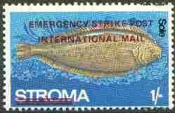 Stroma 1971 Fish 1s (Sole) perf single overprinted 'Emergency Strike Post' for use on the British mainland unmounted mint*