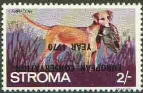 Stroma 1970 Dogs 2s (Labrador) perf single with 'European Conservation Year 1970' opt inverted unmounted mint*