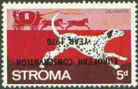 Stroma 1970 Dogs 5d (Dalmation) perf single with 'European Conservation Year 1970' opt inverted unmounted mint*