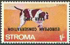 Stroma 1970 Dogs 1s (Pointer) perf single with 'European Conservation Year 1970' opt inverted unmounted mint*