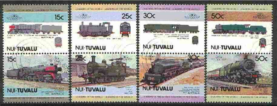Tuvalu - Nui 1984 Locomotives #1 (Leaders of the World) set of 8 fine cds used