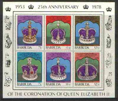 Barbuda 1978 Coronation 25th Anniversary 1st issue (Crowns) m/sheet unmounted mint, SG MS 414