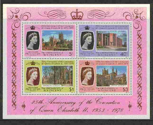 St Vincent - Grenadines 1978 Coronation 25th Anniversary m/sheet (Cathedrals)SG MS 134 unmounted mint
