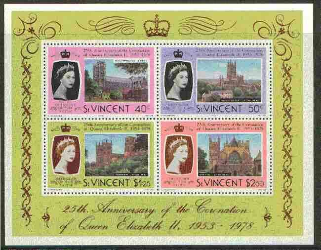 St Vincent 1978 Coronation 25th Anniversary m/sheet (Cathedrals & Abbeys) SG MS 560 unmounted mint