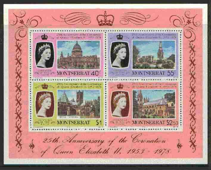 Montserrat 1978 Coronation 25th Anniversary m/sheet (Cathedrals & Abbeys) SG MS 426 unmounted mint