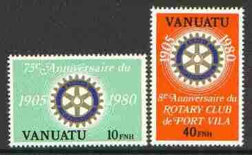 Vanuatu 1980 Rotary International 75th Anniversary unmounted mint set of 2 (french) SG 300-301F