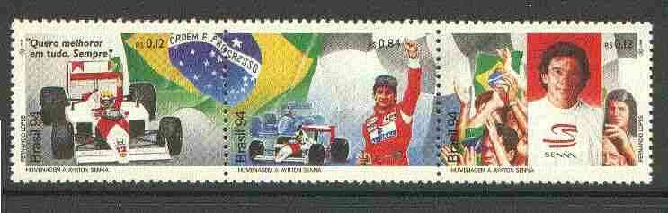 Brazil 1994 Ayrton Senna (Racing Driver) Commemoration unmounted mint setenant strip of 3, SG 2680-82