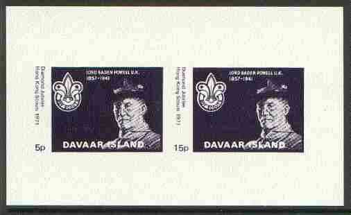 Davaar Island 1971 Hong Kong Scouts Diamond Jubilee imperf m/sheet (5p & 15p dark blue) unmounted mint