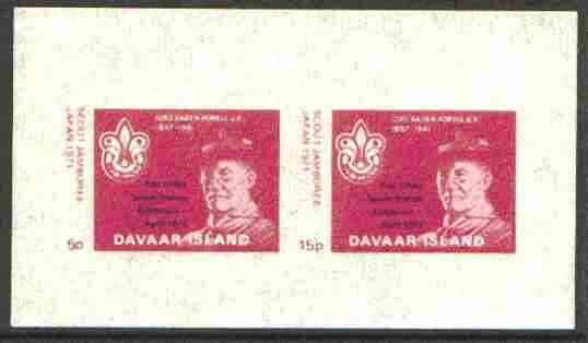 Davaar Island 1973 Scouts Stamp Exhibition opt on Japan Scout Jamboree imperf m/sheet (5p & 15p claret) unmounted mint