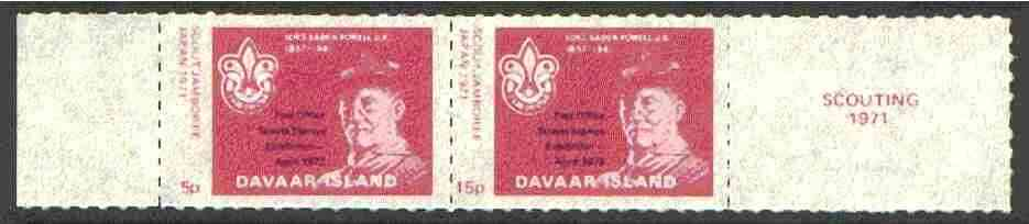 Davaar Island 1973 Scouts Stamp Exhibition opt on Japan Scout Jamboree perf set of 2 (5p & 15p claret) unmounted mint