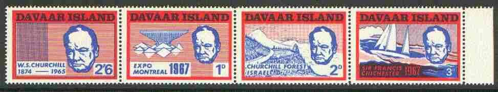 Davaar Island 1967 Churchill perf def strip of 4 (Chichester Boat, Forest etc) unmounted mint