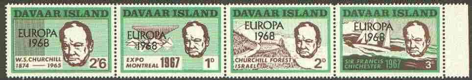 Davaar Island 1968 Europa opt on 1967 Churchill perf def strip of 4 (Chichester Boat, Forest etc) unmounted mint