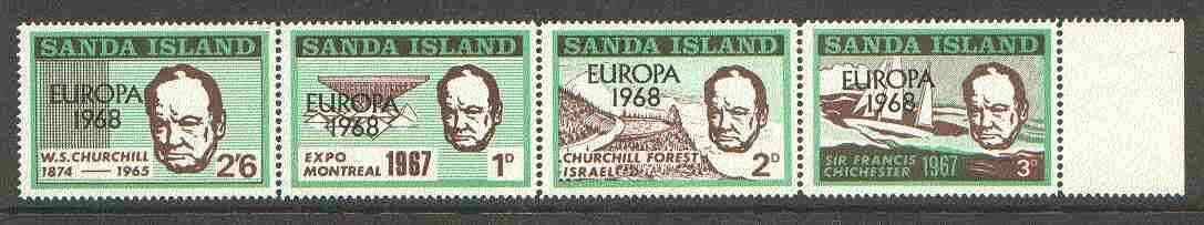 Sanda Island 1968 Europa opt on 1967 Churchill perf def strip of 4 (Chichester Boat, Forest etc) unmounted mint