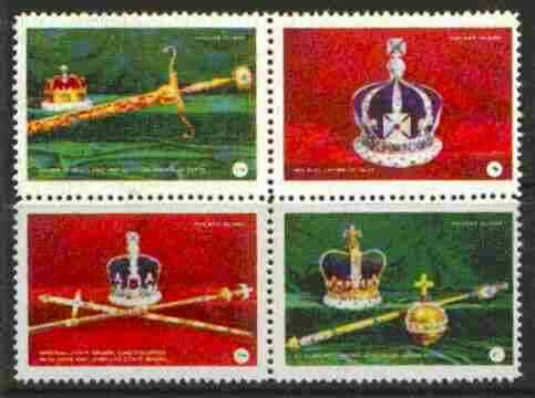 Davaar Island 1977 Coronation 25th Anniversary unmounted mint set of 4 (Crowns & Royal Regalia)
