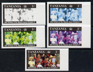 Tanzania 1987 Queen's 60th Birthday 5s set of 5 unmounted mint imperf progressive colour proofs incl all 4 colours (as SG 517)