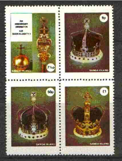 Sanda Island 1977 Coronation 25th Anniversary unmounted mint set of 4, 1st Issue (Crowns & Royal Regalia)