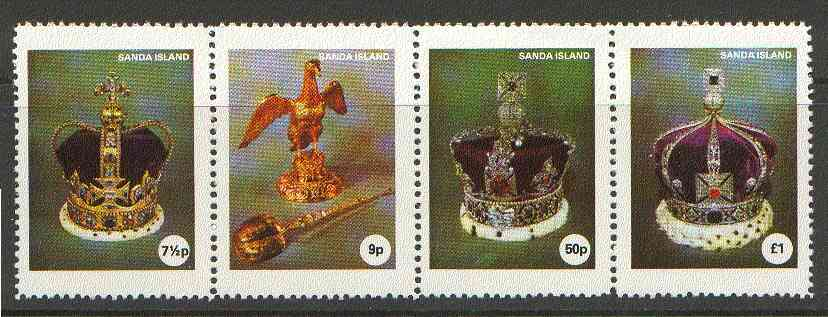 Sanda Island 1977 Coronation 25th Anniversary strip of 4, 2nd Issue (Crowns & Royal Regalia) unmounted mint