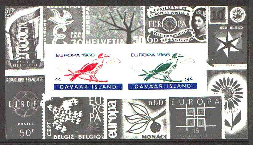 Davaar Island 1966 Europa imperf m/sheet (birds) with stamp border, unmounted mint