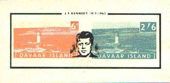 Davaar Island 1964 J F Kennedy opt on imperf Lighthouses m/sheet (6d & 2s6d) unmounted mint