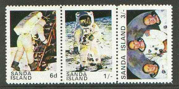 Sanda Island 1970 Apollo 11 Moon Landing unmounted mint perf set of 3