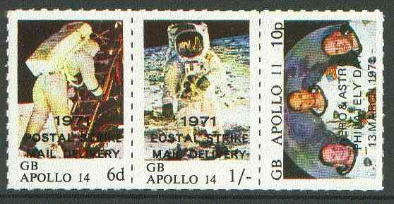 Sanda Island 1971 Postal Strike opt on Apollo 11 Moon Landing unmounted mint rouletted set of 3 (opt'd for use on the British mainland), stamps on space, stamps on strike