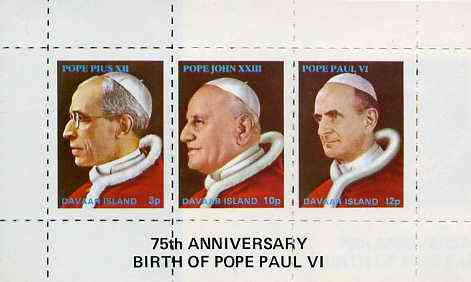 Davaar Island 1973 Popes (Pius XII, John XXIII & Paul VI) rouletted m/sheet unmounted mint