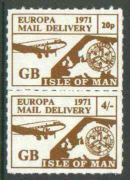 Isle of Man 1971 Europa Local rouletted set of 2 (20p & 4s) produced for use on the British mainland during the Postal strike unmounted mint