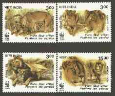 India 1999 WWF - Asiatic Lion set of 4 unmounted mint, SG 1867-70