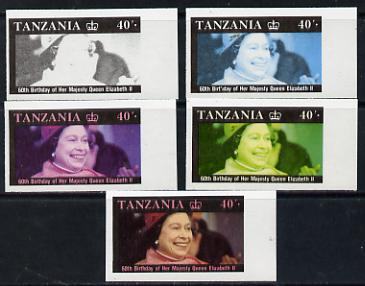 Tanzania 1987 Queen's 60th Birthday 40s set of 5 unmounted mint imperf progressive colour proofs incl all 4 colours (as SG 519)