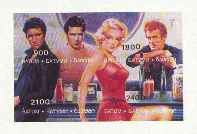 Batum 1995 Hollywood Stars (Elvis, Marilyn Monroe, Marlon Brando & James Dean) imperf sheetlet containing 4 values unmounted mint