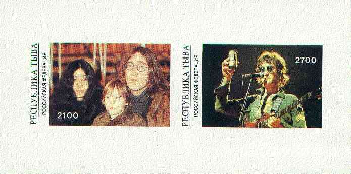 Touva 1998 John Lennon imperf sheetlet containing 2 values unmounted mint