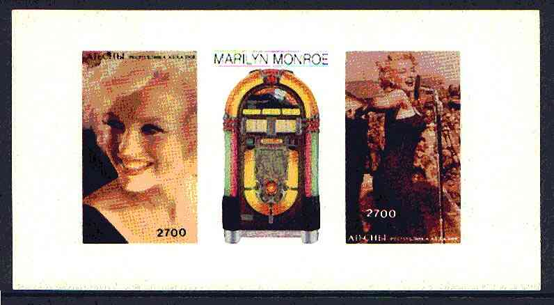 Abkhazia 1997 Marilyn Monroe imperf sheetlet containing 2 values plus label, unmounted mint