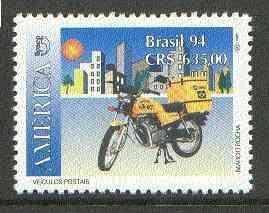 Brazil 1994 Motor Cycle 635cr from Postal Vehicles set, unmounted mint SG 2628*
