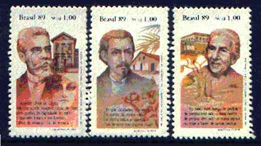Brazil 1989 Book Day set of 3 (writers) unmounted mint SG 2388-90*